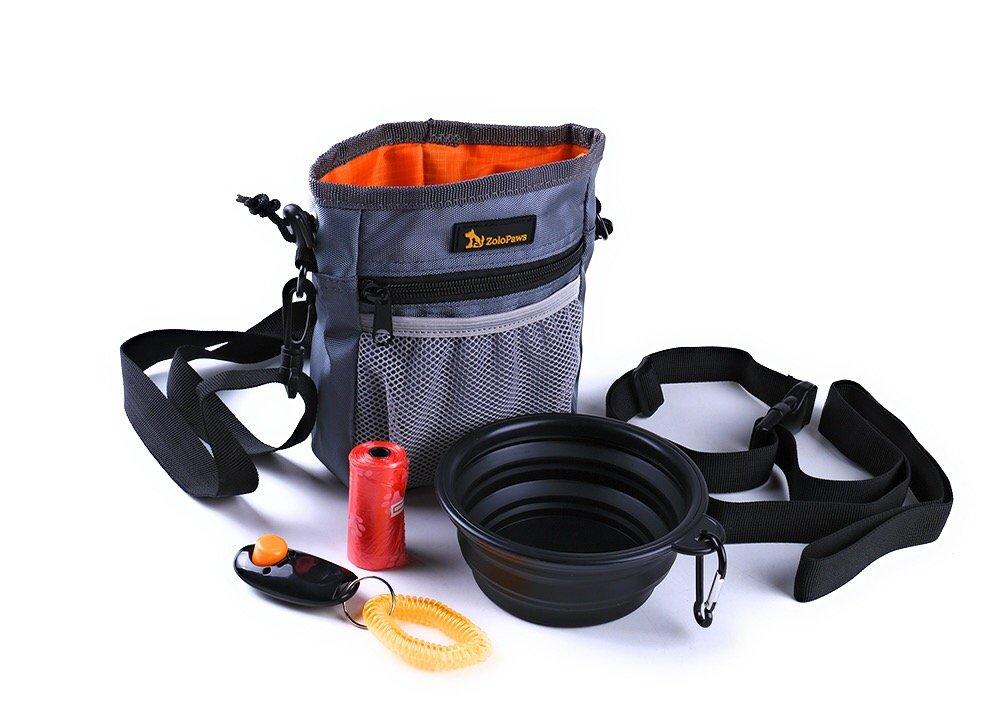 Dog Treat Training Pouch Bundle with Built-in Poop Bag Dispenser, Pet Training Bag, Carry Pet Treats & Toys, Shoulder & Waist Strap + Bonus Dog Clicker + Collapsible Bowl & 1 Roll of Poop Bags