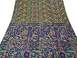 Vintage Indian Saree Pure Silk Printed Fabric Art Decor Craft Floral Brown Sari