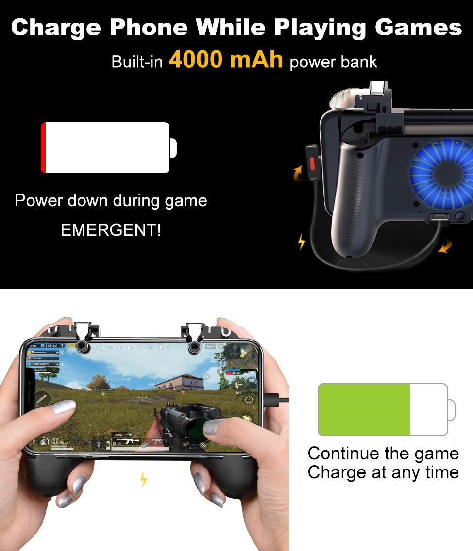 Mobile Controller with Power Bank Cooling Fan for Fortnite Mobile Controller L1R1 Game Trigger Joystick Gamepad Grip Remote for 4-6.5'' Android IOS Phone【Latest Version Blue Light 4000mAh】 by YOBWIN (Image #1)
