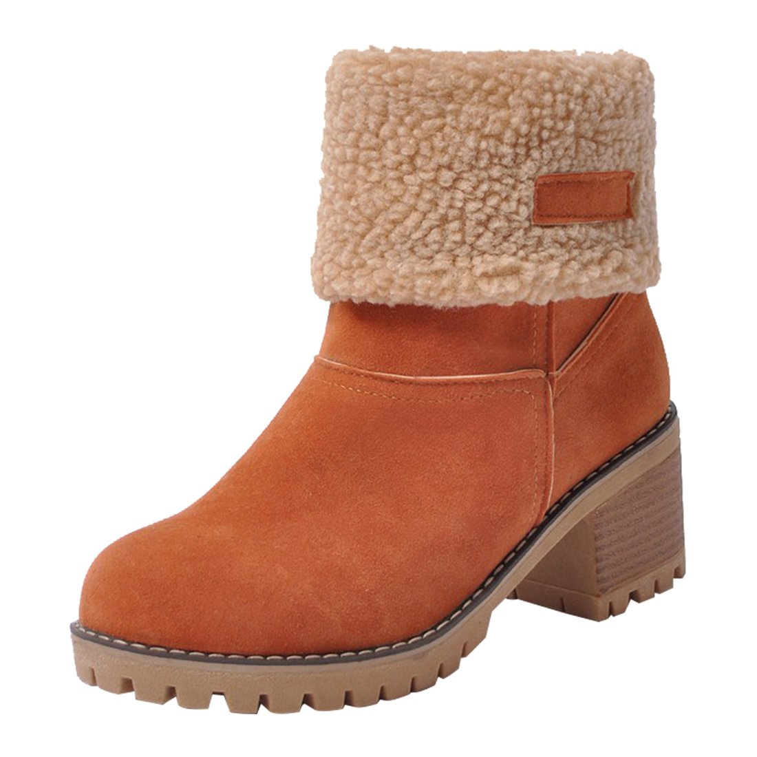 orange MORNISN Womens Winter Snow Boots Round Toe Suede Chunky mid Heel Faux Fur Warm Ankle Booties