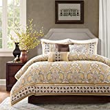 7pc Gold Jacquard Pattern King Paisley Printed Comforter Set, Polyester, Blue Floral Adult Bedding Master Bedroom Casual Transitional Gorgeous Mandala Damask Colorful Contemporary