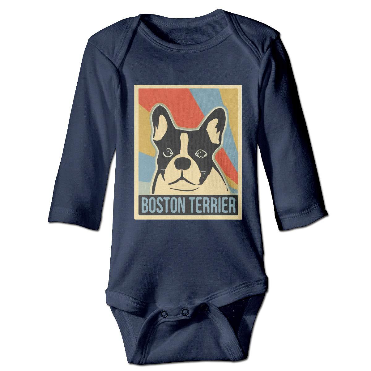 Q98BABY Newborn Baby Boys Girls Long Sleeve Romper Bodysuit Retro Boston Terrier Print Jumpsuit