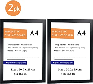 Engeen Magnetic Sign Holder, A4 8x11.5'' Double Sided Window Frames, Self Stick Plastic Picture Holder for Wall/Door/Glass/Office/Refrigerator, Black (2PK)
