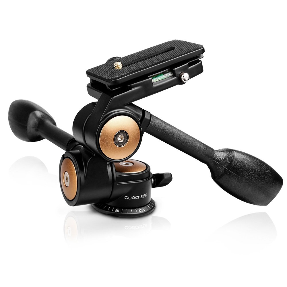Tripod Head, COOCHEER Pan/Tilt Head 2 Handle 3-Way Head with 1/4 QR Plate 2 Bubble Levels,Load up to 22lb, for Manfrotto Benro Gitzo Tripods, Monopod, Camera Slider and DSLR Camera AMF005023