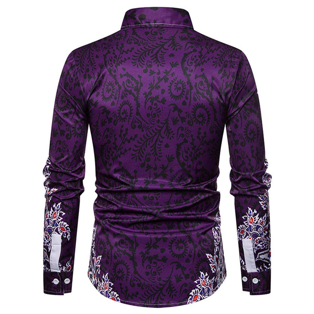 Stylish Casual Mens Lapel Personalized Printed Shirt