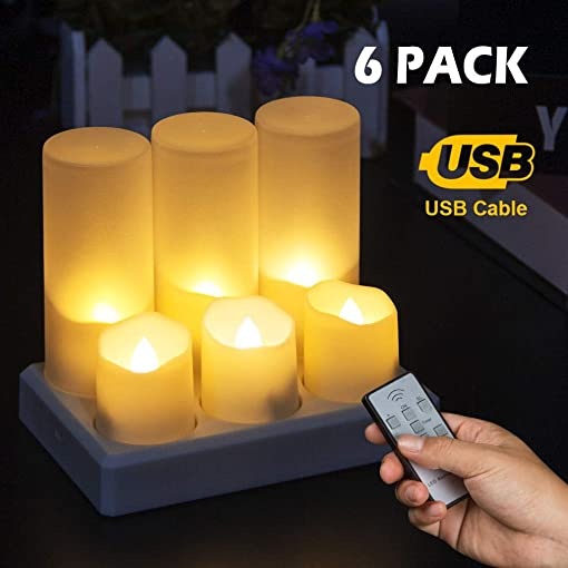 Rechargeable Flameless Candles Tea Lights, LED Candles Flickering Fake Candles with Remote Timer, Warm White Tealights for Parties, Weddings, Bar, Family, Dinner Outdoor Picnic Decoration
