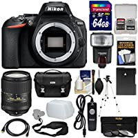 Nikon D5600 Wi-Fi Digital SLR Camera Body with 18-300mm VR Lens + 64GB Card + Case + Flash + Battery + Tripod + Kit