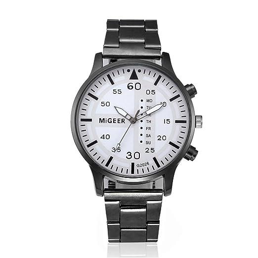 Logobeing Reloj de Pulsera de Cuarzo Analógico Acero Inoxidable Cristalino Relojes Hombre Baratos Grandes Moda (Blanco): Amazon.es: Relojes