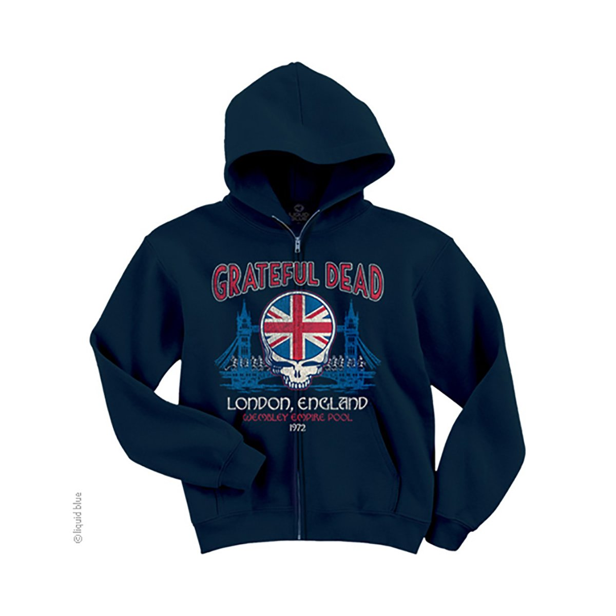 Grateful Dead Navy Blue Full Zip Hoodie, Wembley Empire Pool London 1972