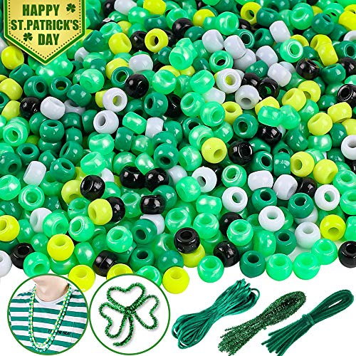 DICOBD St. Patrick's Day Plastic Beads Irish Beads with 30pcs Green Chenille Stems 10 Meter Green Braided Rope for Making Clover Bracelet