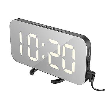 YONII Reloj de Alarma Digital con Espejo LED, Reloj de Alarma portátil, Reloj Despertador Digital HD, ...