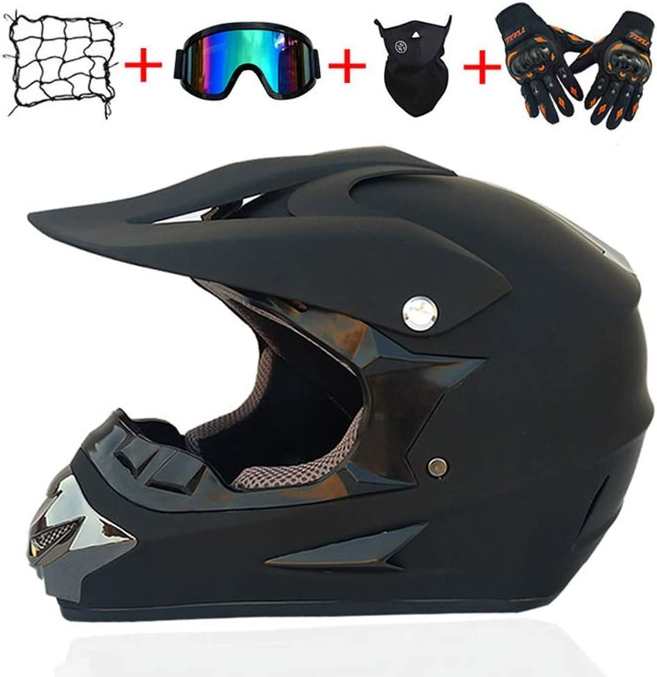 Kinderhelm Motocross-Motorrad-Sets volle Gesichts-Motorrad-Sturzhelm mit abnehmbaren Ohrpolstern Rziioo Motorrad Off Road ATV Fahrrad MTB Helm