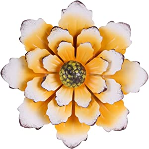"""Farmhouse Wall Decor, Hanging Rustic Metal Flower For Wall, 12"""" Yellow Multiple Floral Wall Decorations For Indoor And Outdoor"""