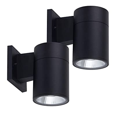 OSTWIN (2 Pack) 1-Direction LED Outdoor Cylinder Up or Down Light, 9W (60W Equivalent) 735 Lumen, 3000K Warm Light, Modern Light Fixture for Door Way, Corridor, Waterproof, Black, ETL and Energy Star