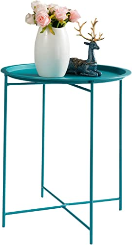 HollyHOME Folding Tray Metal Side Table
