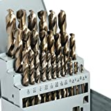 "COMOWARE Cobalt Drill Bit Set- 29Pcs M35 High Speed Steel Twist Jobber Length for Hardened Metal, Stainless Steel, Cast Iron and Wood Plastic with Metal Indexed Storage Case, 1/16""-1/2"""
