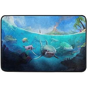 Non-Slip Door Mat Home Decor, Hungry Shark World Durable Rubber Entrance Mats Rugs for Bathroom/Front Doormat, 23.6 X 15.7 inch