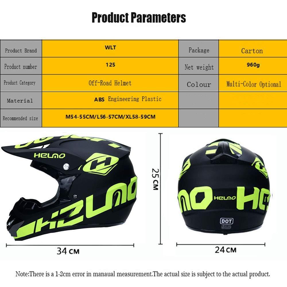 Set di 4 L59~60CM AA-Helmet TOKU Casco Doppio Motocross Sportivo per Adulti Casco Moto MX Casco ATV per Casco da Discesa D.O.T con occhialini