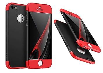 6e4d0c0edae Funda iPhone 5/5S/SE Cubierta 360 Grados Caja protección de cáscara Dura  Anti-Shock Anti-rasguño del Protector Completo del Cuerpo 360°Caso Mate 3  en 1(Rojo ...