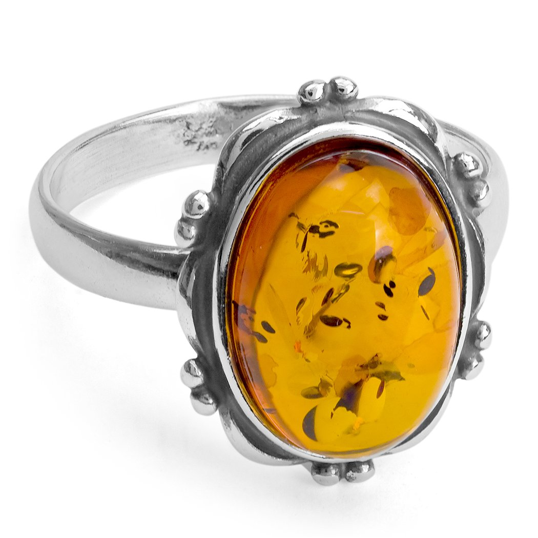 Ian and Valeri Co Amber Ring Sterling Silver 925 Oval Shape