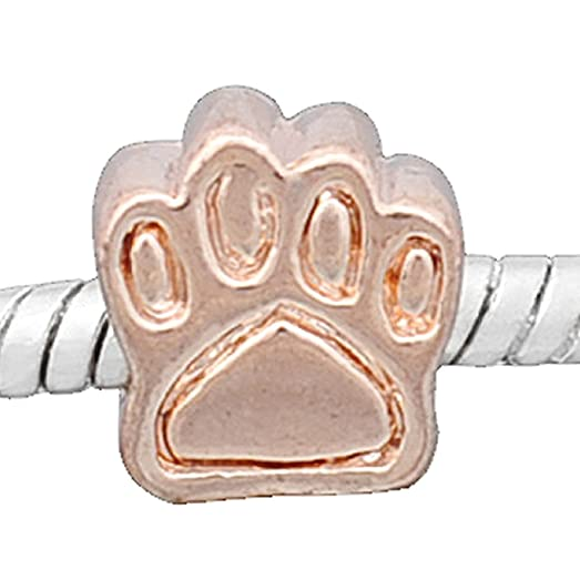 Amazoncom Dog Paw Rose Gold Plated Base Charm Bead for Snake
