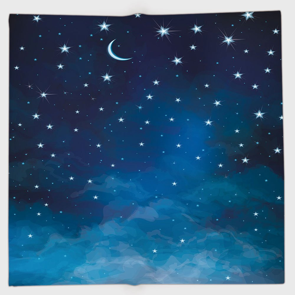Cotton Microfiber Hand Towel,Sky,Abstract Night Time Illustration Stars and Crescent Moon Constellation Astrology Decorative,Blue Dark Blue,for Kids, Teens, and Adults,One Side Printing