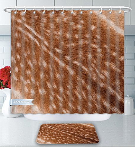 Aoreeo Bathroom Two-Piece Set Texture Real Axis Sika Deer Fur Shower Curtain Bath Rug Set, 60