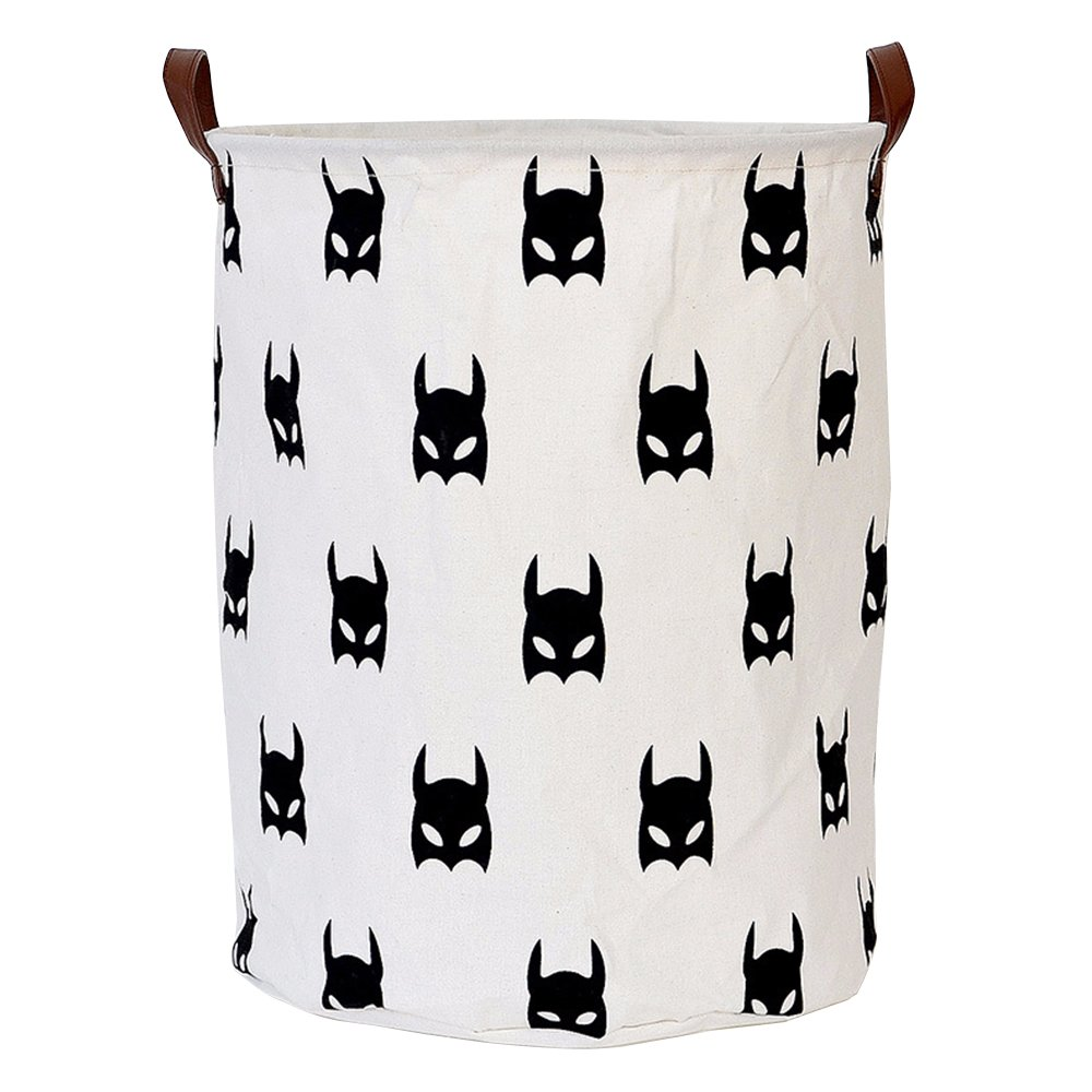 "LINENLUX Dirty Clothes Laundry Storage Basket for Bedroom Bathroom Kids Linen Cotton White and Batman 15.7""x19.7"""