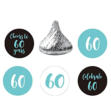 MAGJUCHE Blue 60th Birthday Party Favors Stickers Round Candy Labels Fit Hersheys Kisses 200