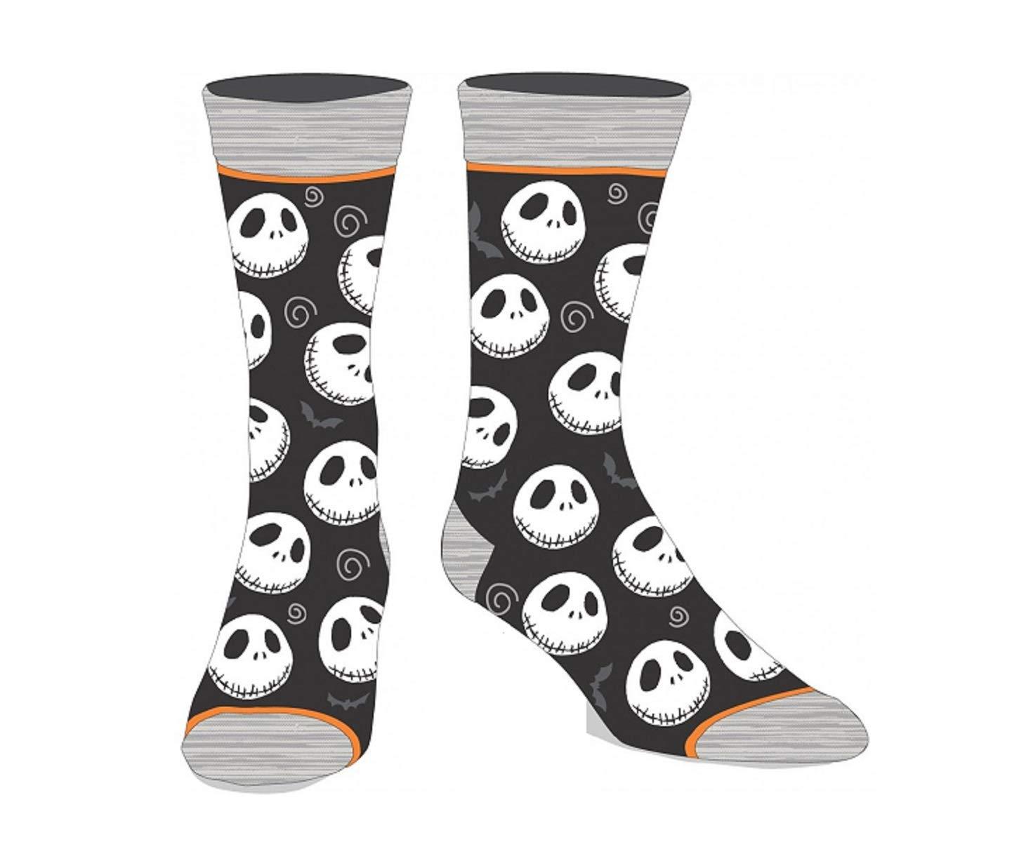 The Nightmare Before Christmas Licensed Adult Crew Socks (Various Designs) (Jack 3-Pack)
