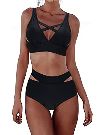 a0e811522b FeelinGirl Women's Sexy Criss Cross Bandage Bikini Set High Waisted ...