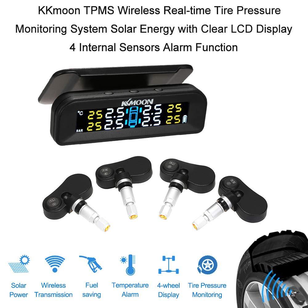 KKmoon TPMS Sistema de Monitoreo de Presi/ón de Neum/áticos de Coche Alarma Inal/ámbrico de Energ/ía Solar Tiempo Real Pantall LCD con 4 Sensores External