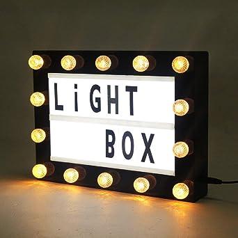 DECO LED Caja de luz cinematográfica con letras de bricolaje Símbolos Emojis USB y funcionamiento de la batería Luz de noche Luces de marca (Caja de luz A4 Marquee): Amazon.es: Iluminación