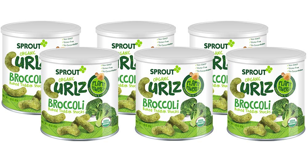 Sprout Organic Baby Food, Sprout Organic Curlz Toddler Snacks, Broccoli, 1.48 Ounce Canister (Pack of 6), Plant Powered, Gluten Free, USDA Certified Organic, Nothing Artificial