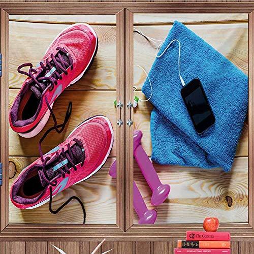 DearestLove Window Film Decorative Fitness,Gymnasium Theme Womens Running Shoes and Dumbbells Equipment - Bathroom Adhered Mirrors