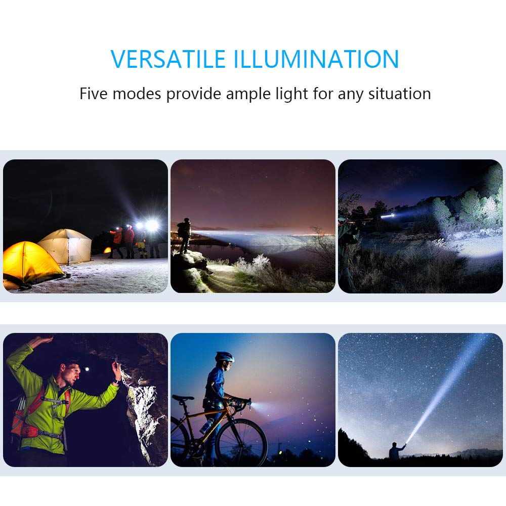 Biking Caferria LED Tactical Flashlights 1000 Lumens Electric Torch Ultra-Bright Handheld Travel Outdoor Flashlight Rechargeable Waterproof Adjustable Focus 5 Modes for Camping Hiking Emergency
