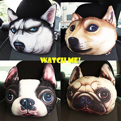 Phoneix 3D Animal Face Car Headrest Pillow Activated Seat Neck Cartoon Pillow Sofa Car Cushion Dolls, Blonde Fat