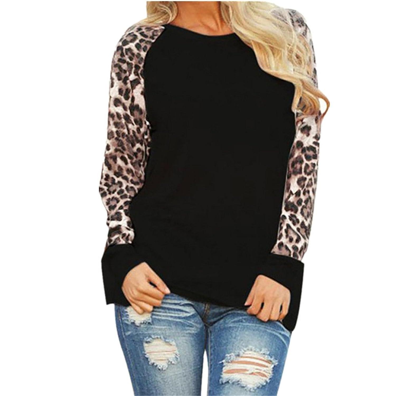 Xander Women Oversized Long Sleeve T-Shirt, Lady Leopard Blouse Long Sleeve Fashion Ladies T-Shirt Oversize Jumper Tops
