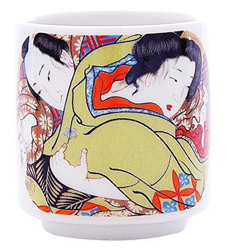 5 PCS CERAMIC JAPANESE SAKE CUPS GUINOMI (EROTIC ART) by Japan Good Products (Image #3)
