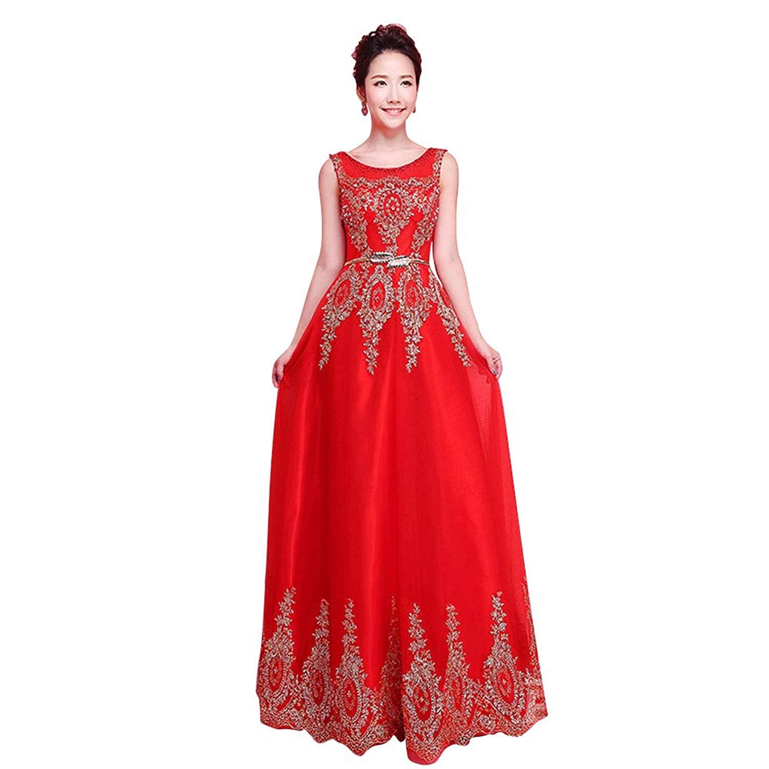 Vimans? 2016 Sexy Long Sleeveless Lace Beaded Bridesmaid Dresses for Women
