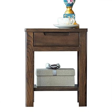 C-T-G Comodino in legno massello puro Tavolino bianco in cassettone ...