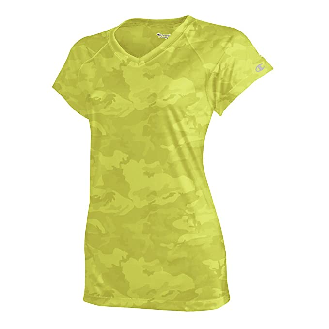 Champion Women's Essential Double Dry V-Neck Tee_Safety Green Camo_XS