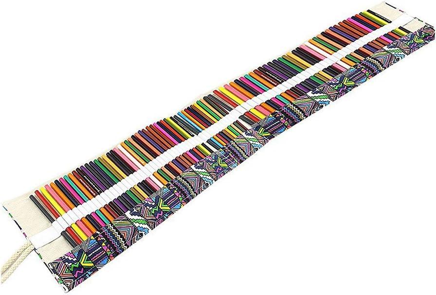 ULTNICE Bolso de lona con ranuras, en forma de rollo para envolver 72 lápices o plumas (lápices y plumas no son incluidas)