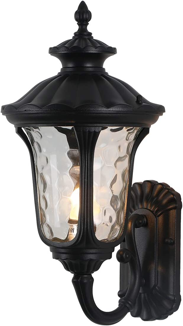 """IP65 Waterproof Outdoor Wall Light 18.50""""H x 9.25""""W Up-Right Exterior Wall Lighting with Clear Hammered Glass Black Steel Scroll Traditional Outdoor Wall Light Fixture Perfect for House"""