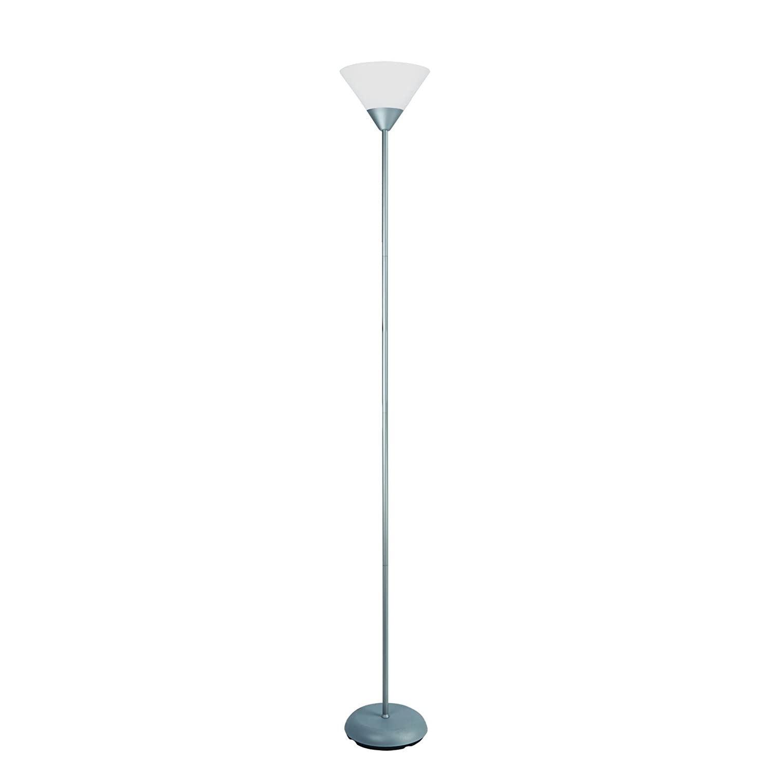 """Simple Designs Home LF1011-SLV 1 Light Stick Torchiere Floor Lamp, 8.67"""" x 8.67"""" x 71"""", Silver"""