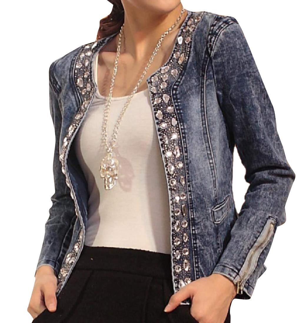 Abetteric Womens Original Fit Embellished Retro Style Trucker Jacket M