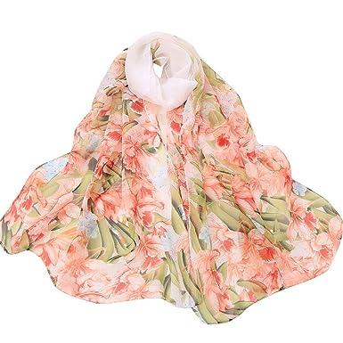 da4d7fb0442 BaZhaHei Foulard Femmes Voile Foulard Longue Châle Fleur d hosta Echarpe  Doux Ultra-Léger