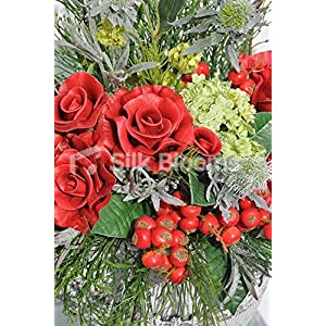 Beautifull Red Roses & Snowball Fern Foliage Table Vase Display 2