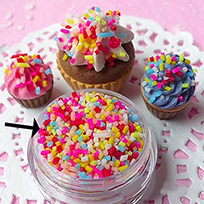 Kangkang@ 100g DIY Polymer Clay Colorful Fake Candy Sweets Sugar Sprinkles Decorations for Fake Cake Dessert Simulation Food Dollhouse Style (A): Toys & Games