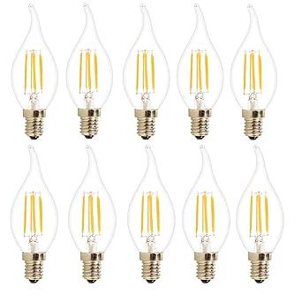 10X E14 Edison LED 4W Filamento LED COB Vela del LED 400LM Bombilla Retro Vintage LED